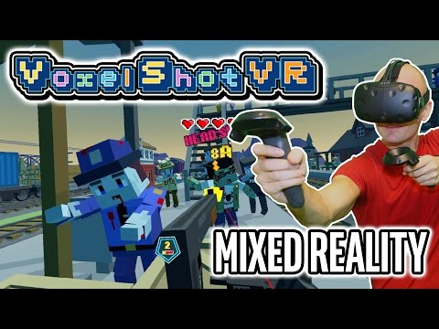 Voxel Shot VR Gameplay (Pre-Release) in Mixed Reality on HTC Vive - Cute VR zombie shooter!