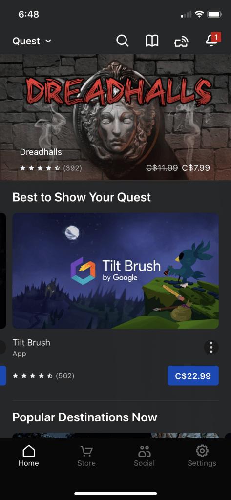 oculus app home screen 1