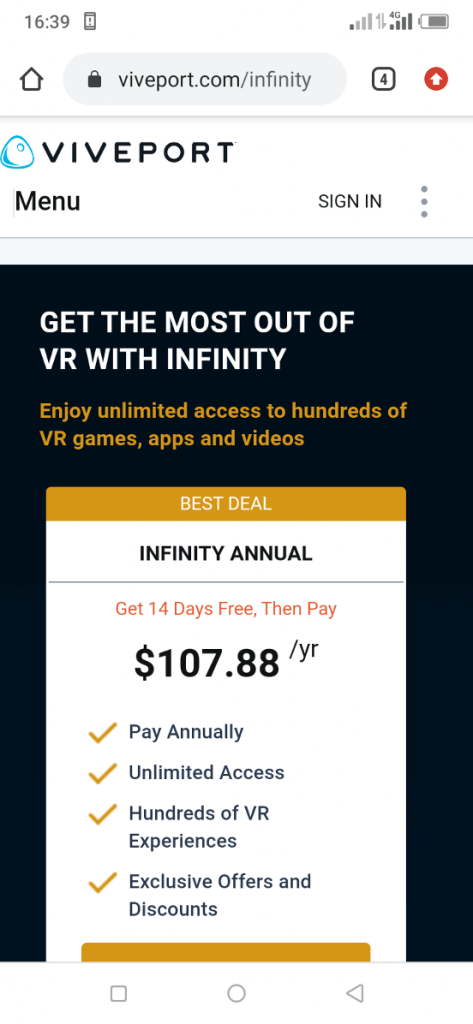 01 - viveport infinity sign up
