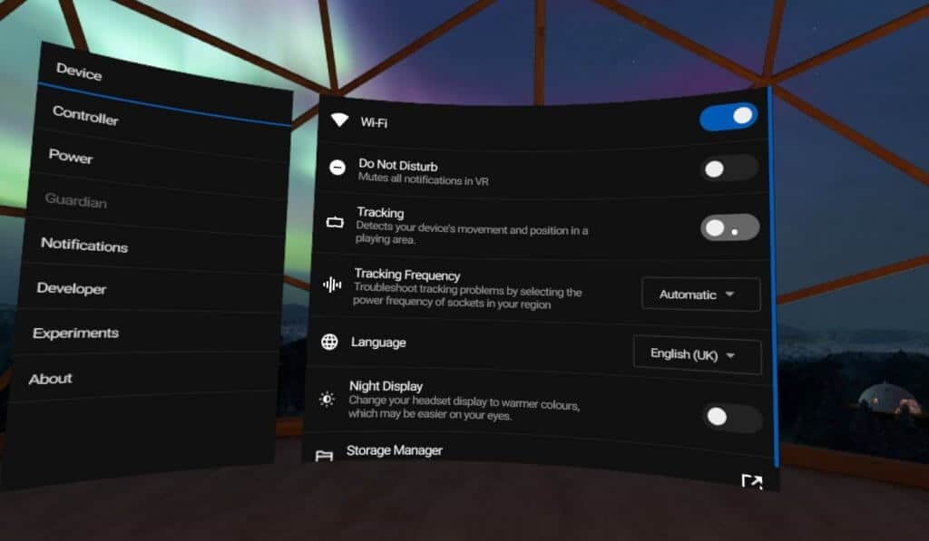 broken stationary boundary guardian - settings page on oculus quest