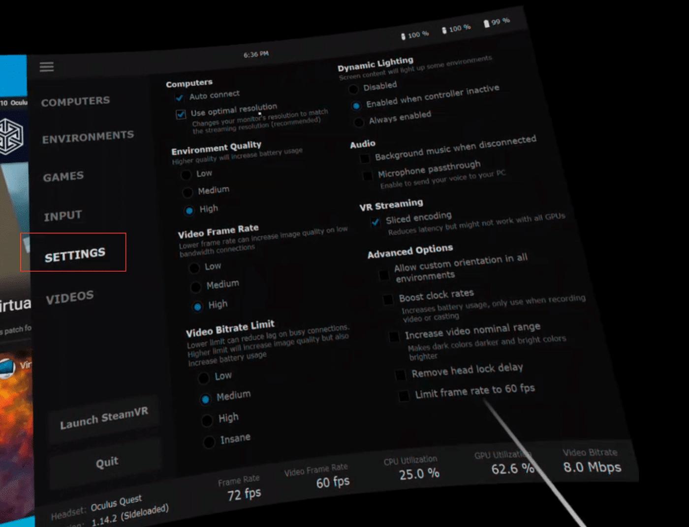 virtual desktop settings on oculus quest