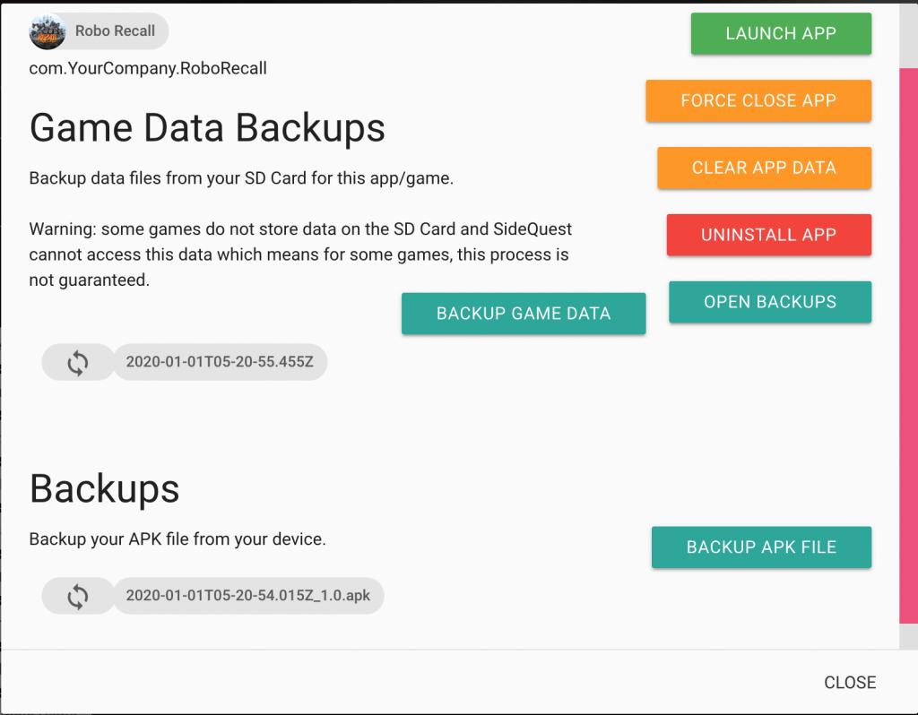 sidequest vr backup restore game 64 vs 256 gb