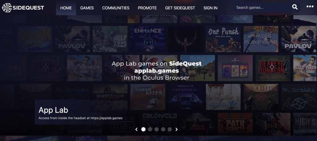 sidequest vr interface