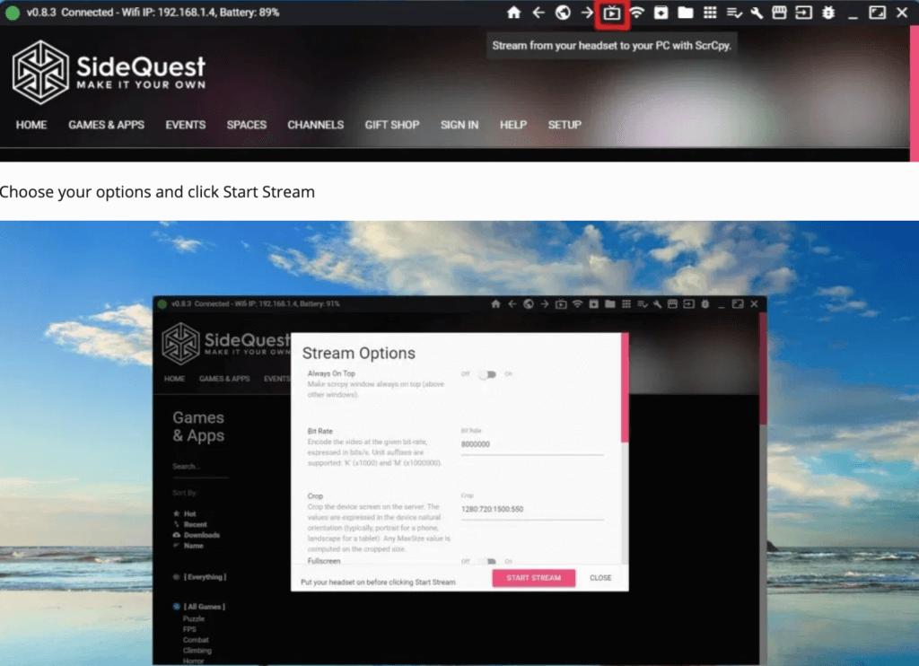 sidequest stream oculus quest video