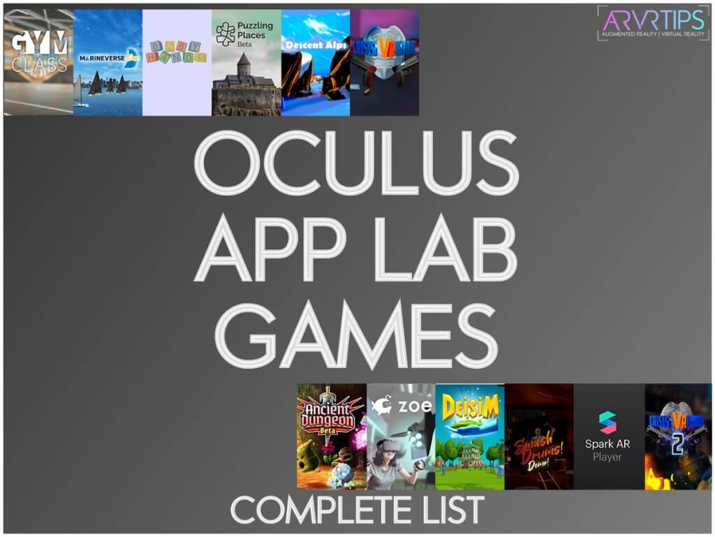complete list of oculus app lab games