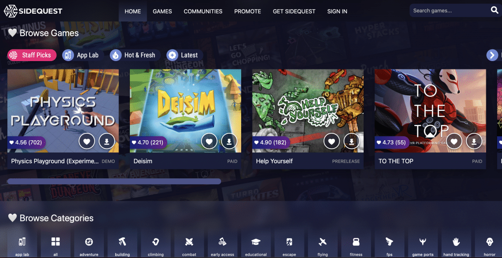 oculus store vs app lab vs sidequest most games