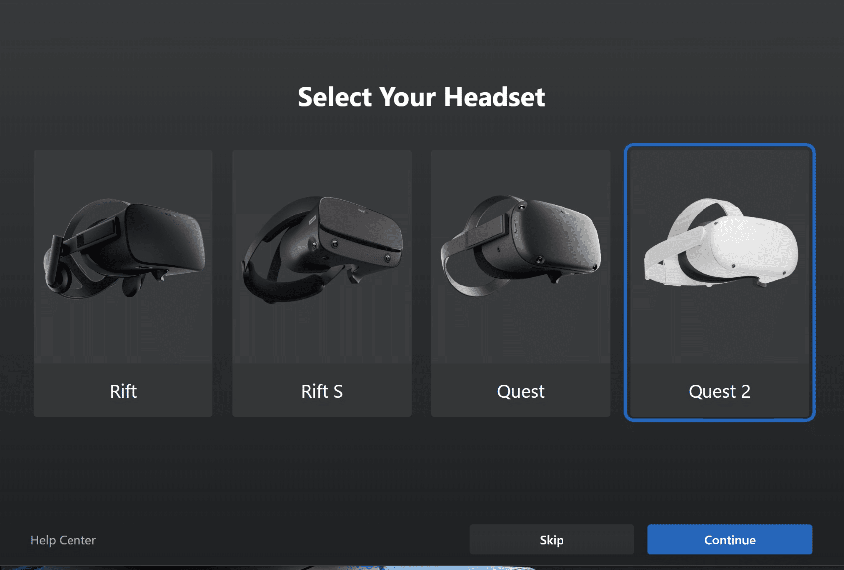 7 - oculus pc software select your headset