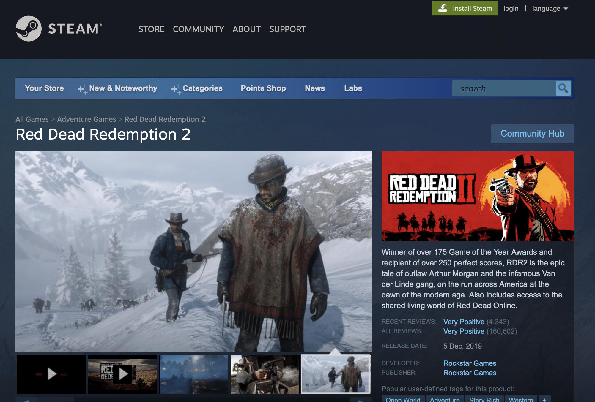 red dead redemption 2 steam page